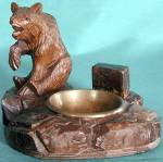 Click here to enlarge image and see more about item TOBMAT2: Vintage �Black Forest� Bear Match Holder & Ashtray