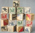 Click here to enlarge image and see more about item TOYGEN184: Vintage Child's Wooden Blocks Set of 17