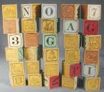 Click here to enlarge image and see more about item TOYGEN63: Vintage Child's Wooden Blocks Set of 30