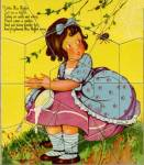 Click here to enlarge image and see more about item TP6: Vintage Little Miss Muffet Puzzle