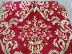 Click here to enlarge image and see more about item TVFAB22: Vintage Red Velour with Brocade Flowers in Vase Fabric