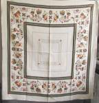Click here to enlarge image and see more about item TVTP1: Vintage Linen Folk Scene Tablecloth
