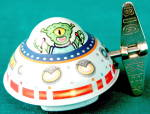 Vintage Tin Martian In Spaceship Wind Up