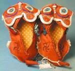 Click to view larger image of Vintage Embroidered Red Cat Baby Slippers (Image2)