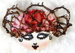 Vintage Hand Painted Silk Head