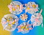 Vintage French Lace & Floral Ribbonwork Set Of 6