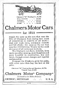1911 CHALMERS MOTOR CARS Ad (Image1)