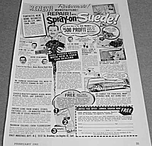 1961 SPRAY ON SUEDE Magazine Ad (Image1)