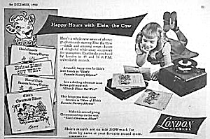 1950 Elsie The Cow Adv. For 45rpm & 78s