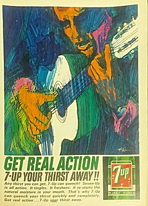 1963 Bob Peak Illustrated 7-up Print Ad - Colorful Guitar