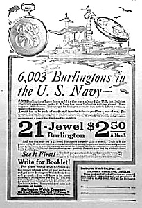 1919 BURLINGTON NAVY POCKET WATCH Ad L@@K! (Image1)