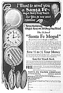 1927 SANTA FE MOGUL Pocket Watch Ad (Image1)