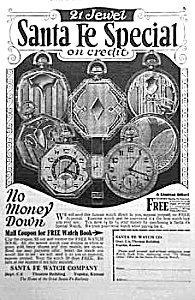 1926 Santa Fe Illinois Pocket Watch Ad
