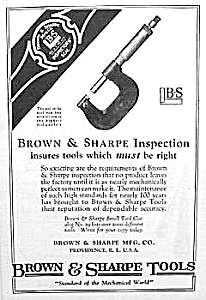 1925 BROWN & SHARPE Tool Ad/MICROMETER (Image1)