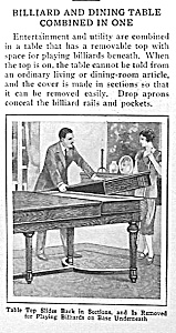 1929 BILLIARD/DINING TABLE Mag. Article (Image1)