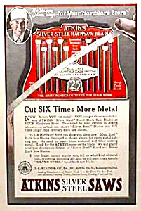 1927 Atkins Silver Steel Saw - Tool Ad