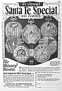 1925 Santa Fe Illinois Pocket Watch Ad