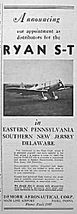 1937 Ryan S-t Aircraft/demorr Aero Ad