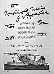 1937 CLANCE VOUGHT AIRCRAFT Aviation Ad (Image1)