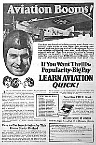 1928 American Aviation School Learn To Fly Ad