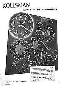 1937 KOLLSMAN Aircraft TACHOMETER Mag. Ad (Image1)