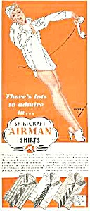1940s Petty Illustr. Airman Shirts Ad