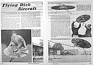 1950 FLYING DISK AIRCRAFT Mag. Article (Image1)