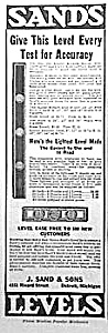 1921 Sands Level/tool Magazine Ad L@@k