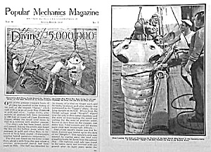 1930 Vint. DIVING/DIVER Salvage Mag. Article (Image1)