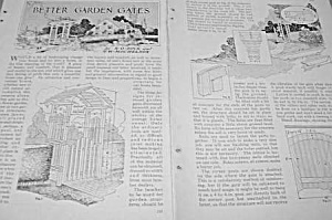 1927 Build Better Garden Gates Mag. Article