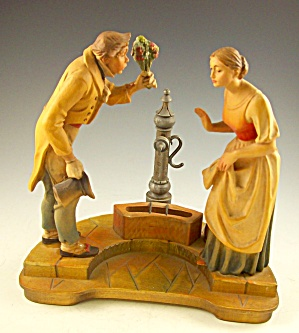 Fine Carved Wood Anri Italy Courtship At Well Must See