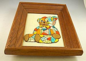 Vintage BABYS ROOM Framed Embroidery TEDDY BEAR (Image1)