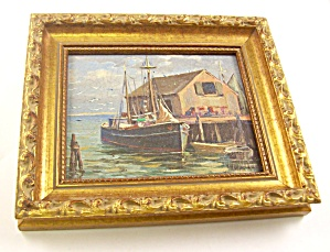 New England Oil On Masonite Harbor Scene 1, De Nagy