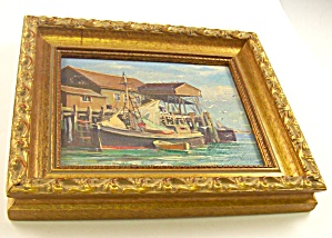 New England Oil on Masonite Harbor Scene 2, De Nagy (Image1)