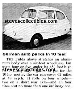 1958 FULDA MINI MICRO CAR Magazine Article (Image1)