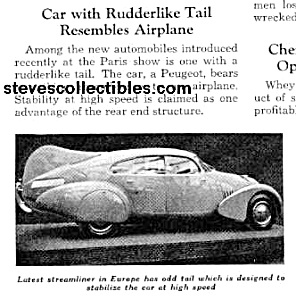 1937 STREAMLINED PEUGEOT W/TAIL Mag. Article (Image1)