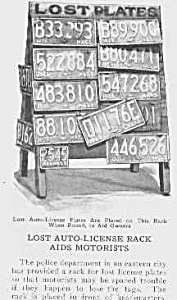 1926 LOST LICENSE PLATE DISPLAY Mag Article (Image1)