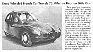 1946 French THREE-WHEELED Car Mag Article (Image1)