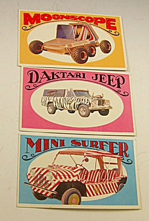 1970 Way Out Wheels George Barris 3 Cards Daktari+
