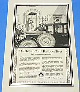 1924 US ROYAL CHORD BALLOON TIRES Art Deco Ad (Image1)