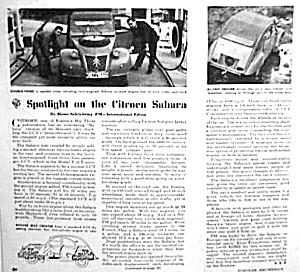 1962 CITROEN SAHARA Period Magazine Article (Image1)