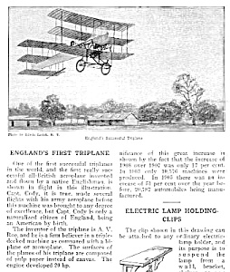 1910 ENGLAND FIRST TRIPLANE Aviation Mag. Article (Image1)