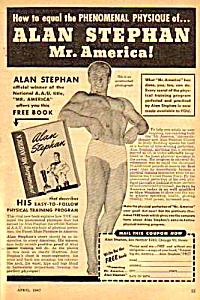 1947 ALAN STEPHAN - Mr. America - Muscle/Physique Ad (Image1)
