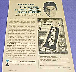 1961 DICK GROAT, Pittsburgh Pirates Baseball Captain Ad (Image1)