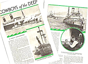 1934 TUGBOATS - BIG OCEAN LINERS Magazine Article (Image1)