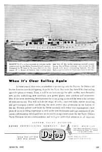 1945 DEFOE SHIPBUILDING Yacht Boat Magazine Ad (Image1)