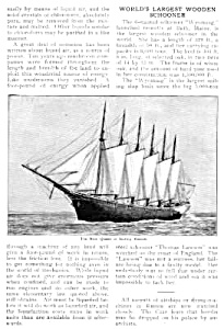 1910 Worlds Largest Wooden Schooner Wyoming Mag Article