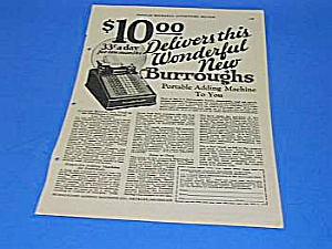 1926 BURROUGHS ADDING MACHINE Ad (Image1)