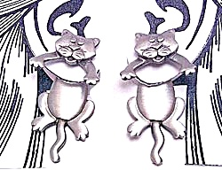 Pewter Earrings - 2 Pc. Cat Kitty