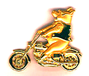 NEW - Gold - PIG ON MOTORCYCLE Pin (Image1)